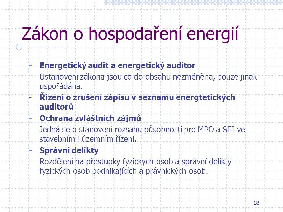Zákon o hospodaření energií - Energetický audit a energetický auditor Ustanovení zákona jsou co do obsahu nezměněna, pouze jinak uspořádána. -Řízení o