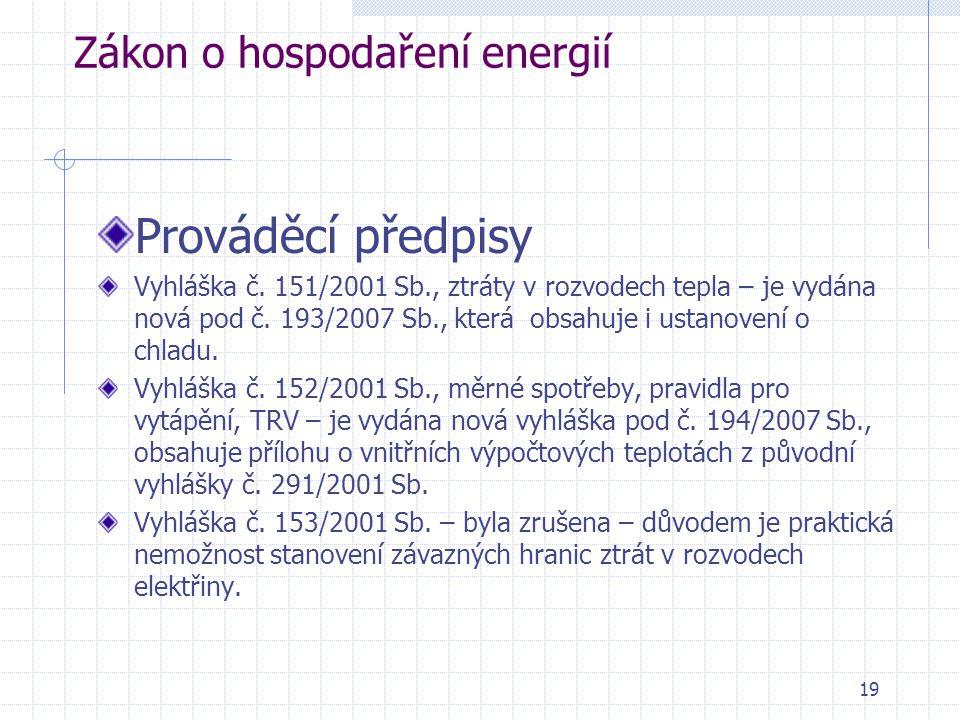 19 Zákon o hospodaření energií Prováděcí předpisy Vyhláška č. 151/2001 Sb., ztráty v rozvodech tepla – je vydána nová pod č. 193/2007 Sb., která obsah