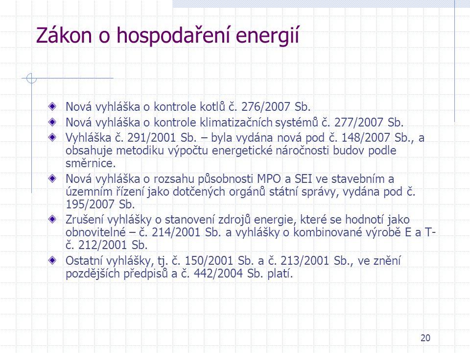 20 Zákon o hospodaření energií Nová vyhláška o kontrole kotlů č. 276/2007 Sb. Nová vyhláška o kontrole klimatizačních systémů č. 277/2007 Sb. Vyhláška