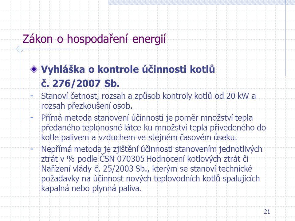 Zákon o hospodaření energií Vyhláška o kontrole účinnosti kotlů č. 276/2007 Sb. - Stanoví četnost, rozsah a způsob kontroly kotlů od 20 kW a rozsah př