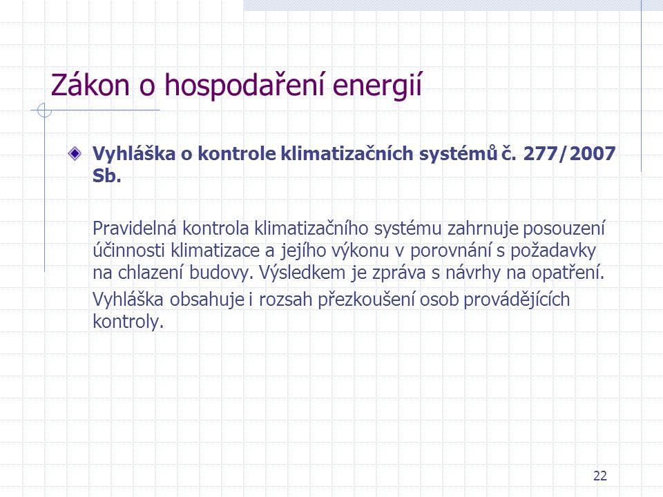Zákon o hospodaření energií Vyhláška o kontrole klimatizačních systémů č. 277/2007 Sb. Pravidelná kontrola klimatizačního systému zahrnuje posouzení ú