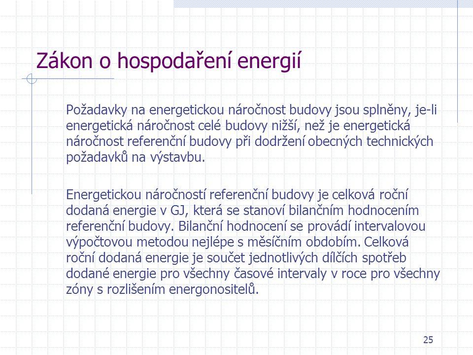 Zákon o hospodaření energií Požadavky na energetickou náročnost budovy jsou splněny, je-li energetická náročnost celé budovy nižší, než je energetická