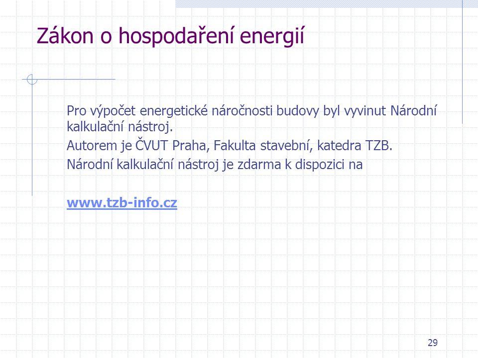 Zákon o hospodaření energií Pro výpočet energetické náročnosti budovy byl vyvinut Národní kalkulační nástroj. Autorem je ČVUT Praha, Fakulta stavební,