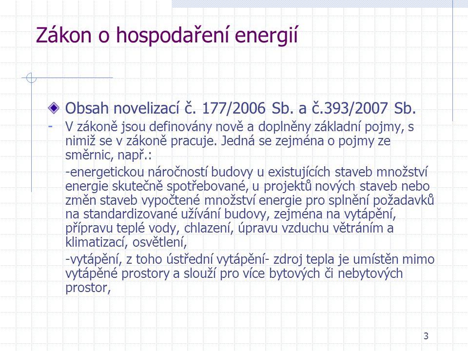 3 Zákon o hospodaření energií Obsah novelizací č. 177/2006 Sb. a č.393/2007 Sb. - V zákoně jsou definovány nově a doplněny základní pojmy, s nimiž se