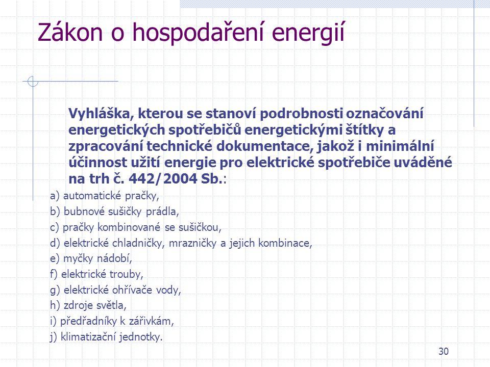 Zákon o hospodaření energií Vyhláška, kterou se stanoví podrobnosti označování energetických spotřebičů energetickými štítky a zpracování technické do
