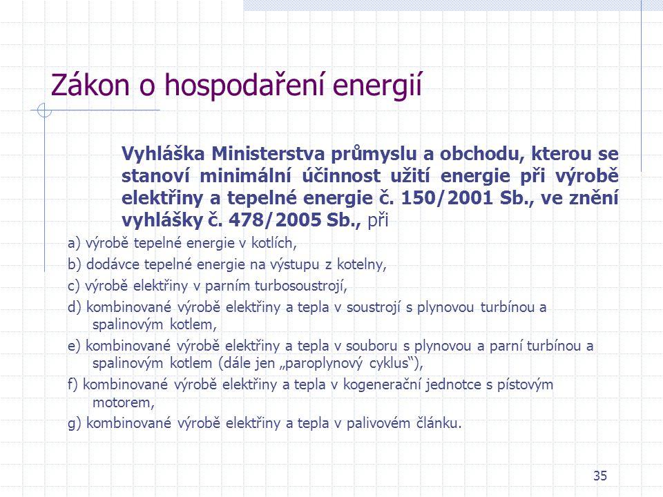 Zákon o hospodaření energií Vyhláška Ministerstva průmyslu a obchodu, kterou se stanoví minimální účinnost užití energie při výrobě elektřiny a tepeln