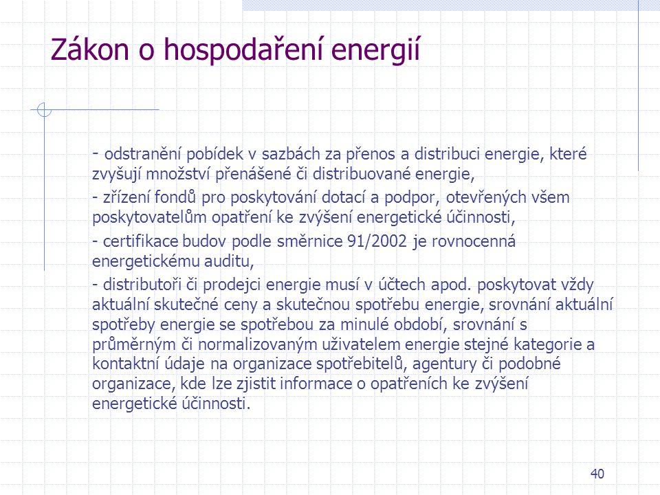 40 Zákon o hospodaření energií - odstranění pobídek v sazbách za přenos a distribuci energie, které zvyšují množství přenášené či distribuované energi