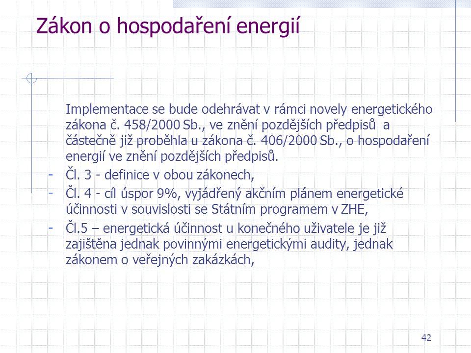 42 Zákon o hospodaření energií Implementace se bude odehrávat v rámci novely energetického zákona č. 458/2000 Sb., ve znění pozdějších předpisů a část