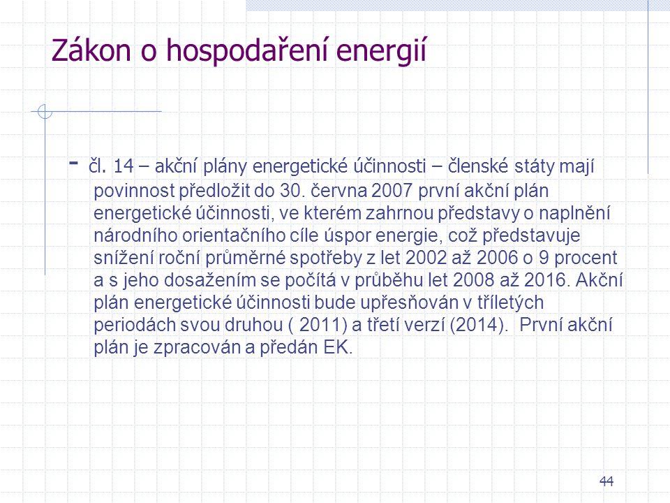 44 Zákon o hospodaření energií - čl. 14 – akční plány energetické účinnosti – členské státy mají povinnost předložit do 30. června 2007 první akční pl