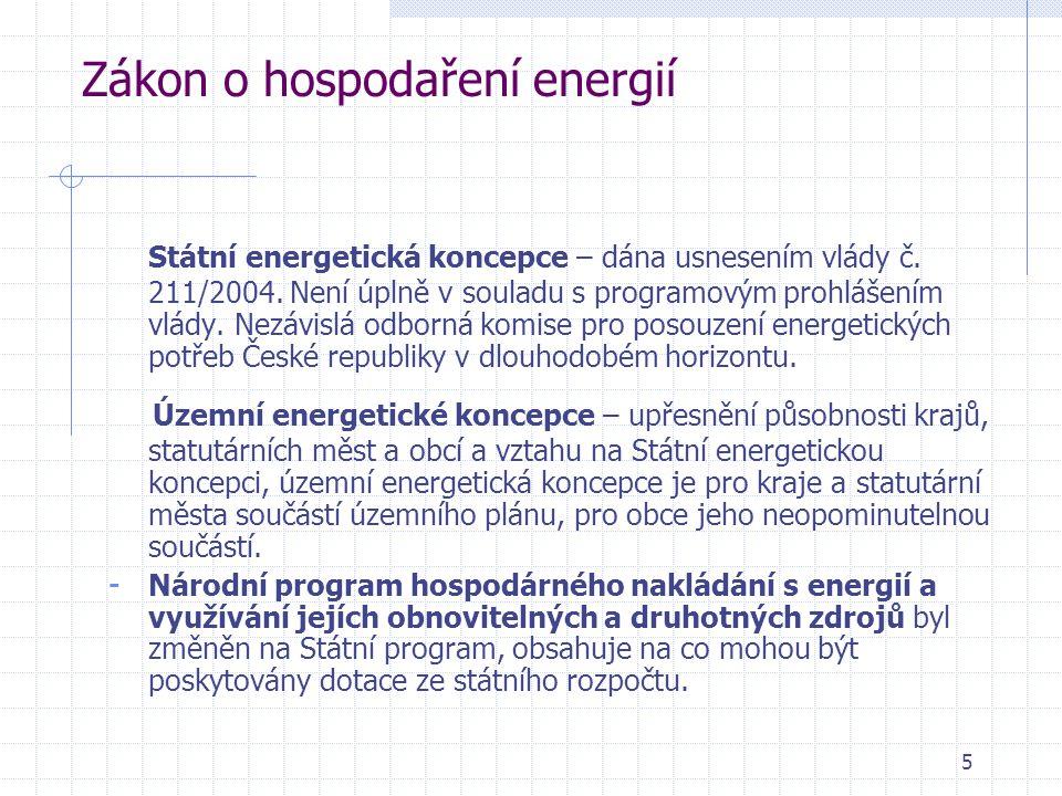 Zákon o hospodaření energií Státní energetická koncepce – dána usnesením vlády č. 211/2004. Není úplně v souladu s programovým prohlášením vlády. Nezá