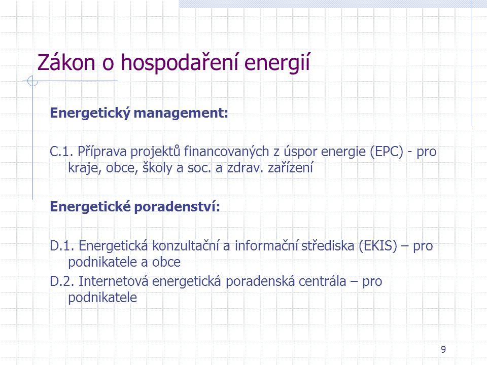 Zákon o hospodaření energií Energetický management: C.1. Příprava projektů financovaných z úspor energie (EPC) - pro kraje, obce, školy a soc. a zdrav