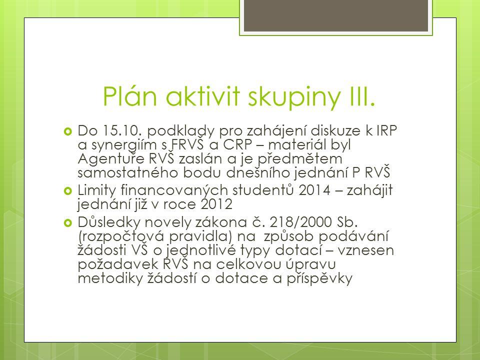 Plán aktivit skupiny III.  Do 15.10.