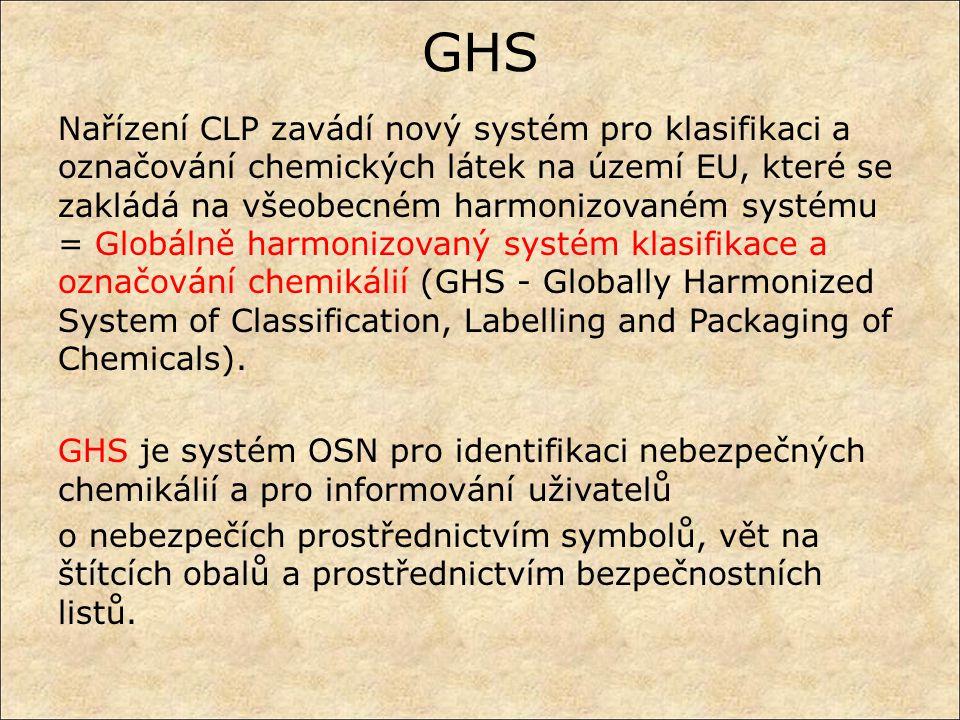 GHS Nařízení CLP zavádí nový systém pro klasifikaci a označování chemických látek na území EU, které se zakládá na všeobecném harmonizovaném systému =
