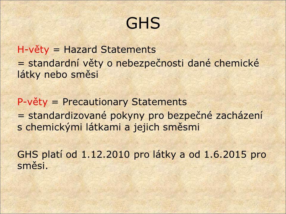 GHS H-věty = Hazard Statements = standardní věty o nebezpečnosti dané chemické látky nebo směsi P-věty = Precautionary Statements = standardizované po