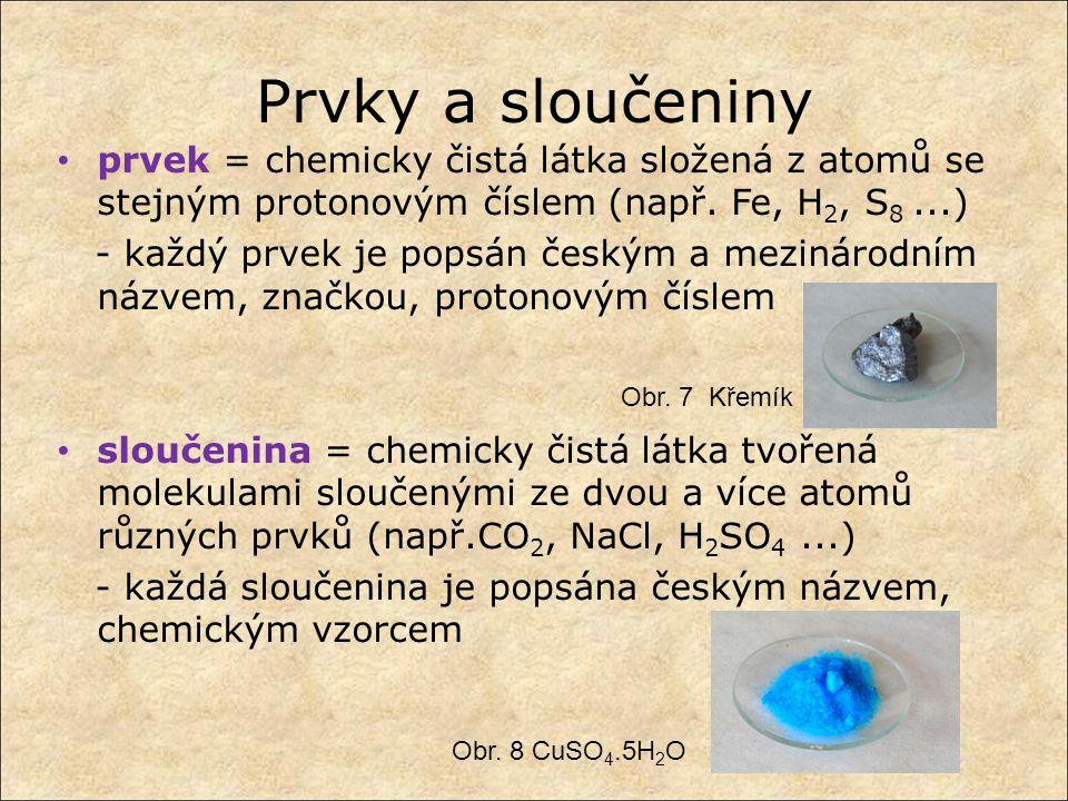 Prvky a sloučeniny prvek = chemicky čistá látka složená z atomů se stejným protonovým číslem (např. Fe, H 2, S 8...) - každý prvek je popsán českým a