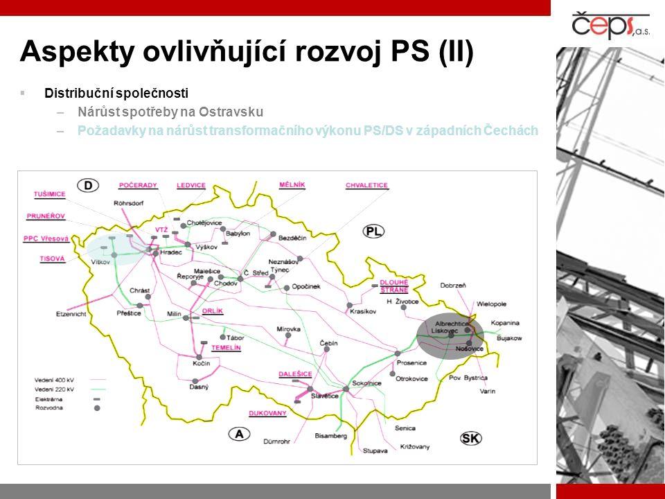 Aspekty ovlivňující rozvoj PS (II)  Distribuční společnosti –Nárůst spotřeby na Ostravsku –Požadavky na nárůst transformačního výkonu PS/DS v západní