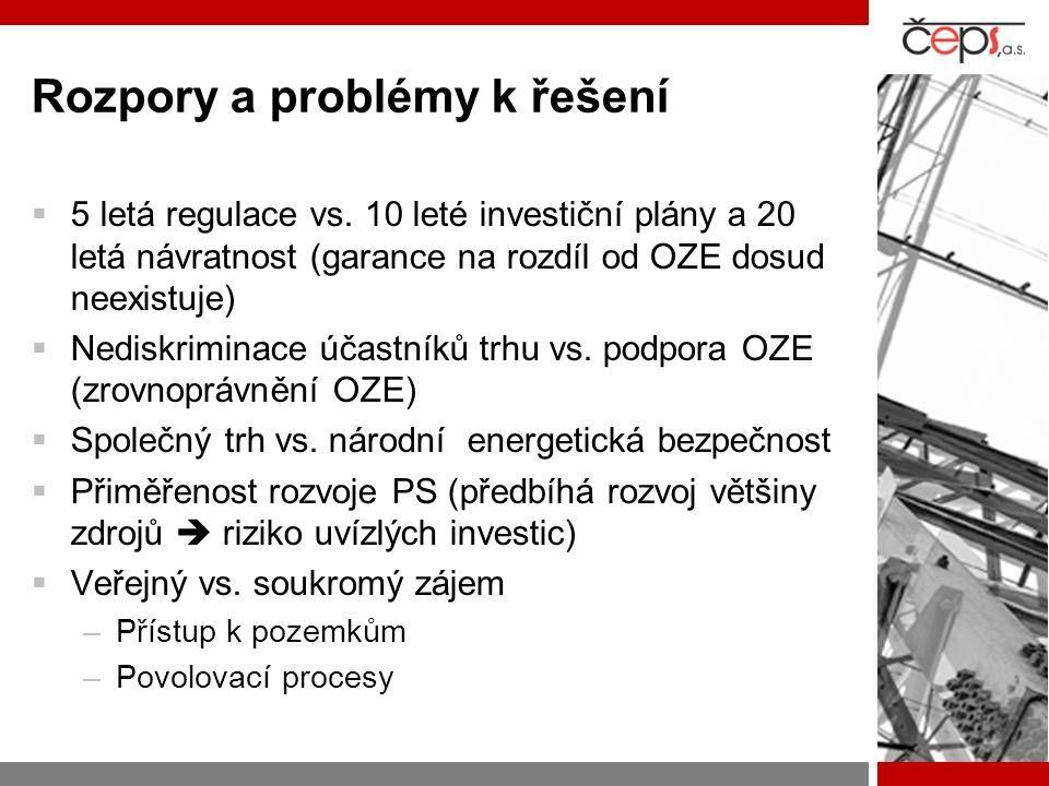 Rozpory a problémy k řešení  5 letá regulace vs. 10 leté investiční plány a 20 letá návratnost (garance na rozdíl od OZE dosud neexistuje)  Nediskri