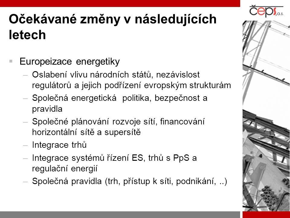 Očekávané změny v následujících letech  Europeizace energetiky –Oslabení vlivu národních států, nezávislost regulátorů a jejich podřízení evropským strukturám –Společná energetická politika, bezpečnost a pravidla –Společné plánování rozvoje sítí, financování horizontální sítě a supersítě –Integrace trhů –Integrace systémů řízení ES, trhů s PpS a regulační energií –Společná pravidla (trh, přístup k síti, podnikání,..)