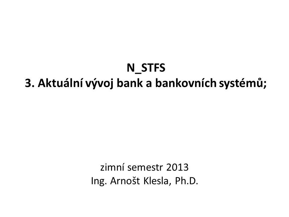 N_STFS 3. Aktuální vývoj bank a bankovních systémů; zimní semestr 2013 Ing. Arnošt Klesla, Ph.D.