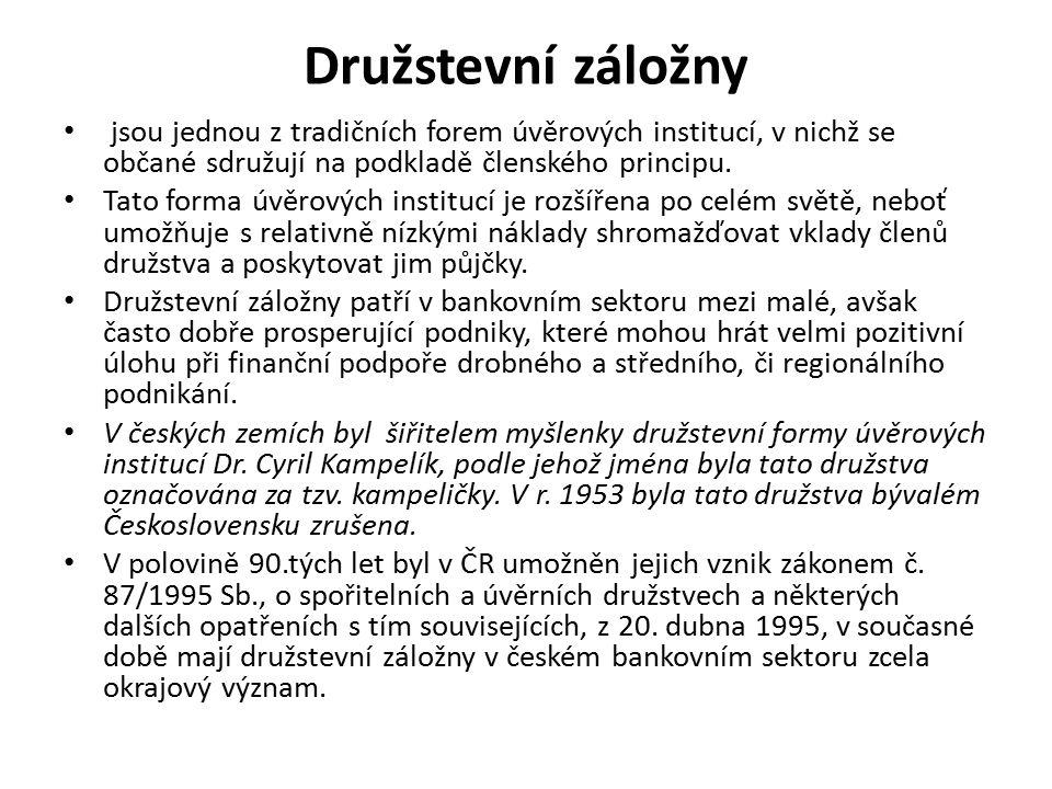 Družstevní záložny jsou jednou z tradičních forem úvěrových institucí, v nichž se občané sdružují na podkladě členského principu. Tato forma úvěrových