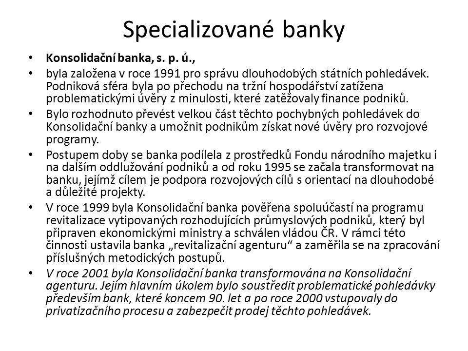 Specializované banky Konsolidační banka, s. p. ú., byla založena v roce 1991 pro správu dlouhodobých státních pohledávek. Podniková sféra byla po přec