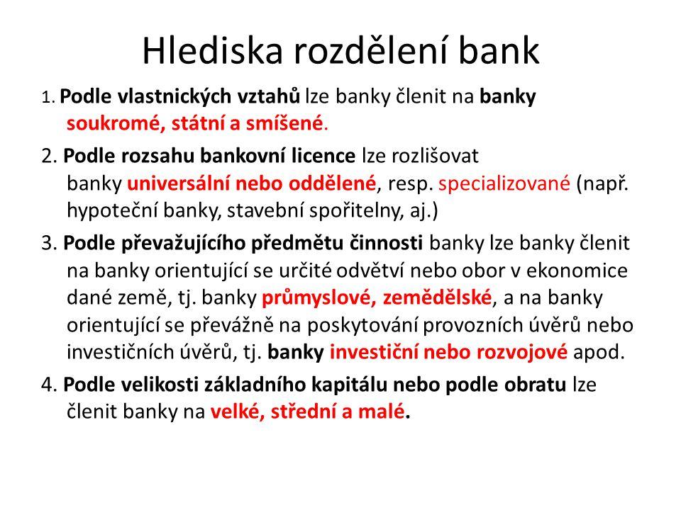 Hlediska rozdělení bank 1. Podle vlastnických vztahů lze banky členit na banky soukromé, státní a smíšené. 2. Podle rozsahu bankovní licence lze rozli