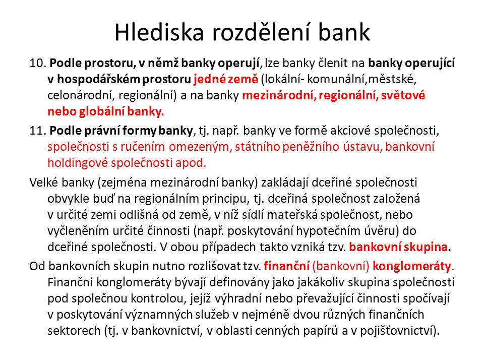 Hlediska rozdělení bank 10. Podle prostoru, v němž banky operují, lze banky členit na banky operující v hospodářském prostoru jedné země (lokální- kom