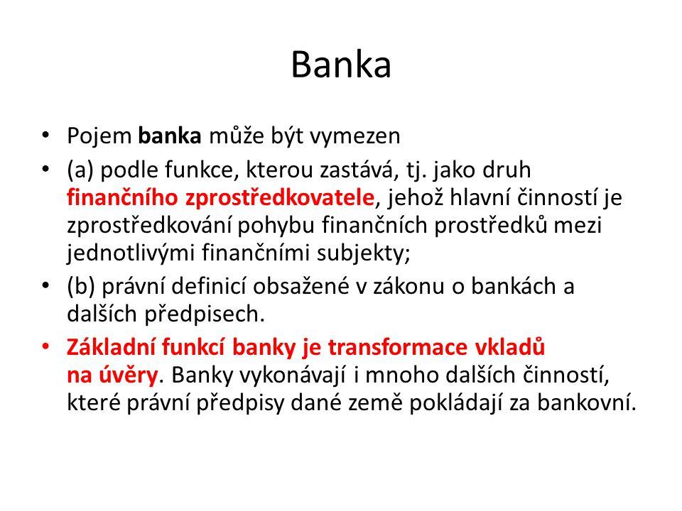 Bankovní činnosti podle zákona o bankách č.21/1992 Sb Pro účely tohoto zákona se rozumí a) vkladem svěřené peněžní prostředky, které představují závazek vůči vkladateli na jejich výplatu, b) úvěrem v jakékoliv formě dočasně poskytnuté peněžní prostředky.