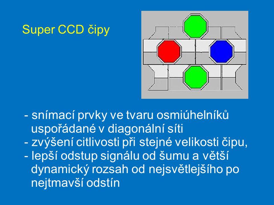 Super CCD čipy - snímací prvky ve tvaru osmiúhelníků uspořádané v diagonální síti - zvýšení citlivosti při stejné velikosti čipu, - lepší odstup signálu od šumu a větší dynamický rozsah od nejsvětlejšího po nejtmavší odstín