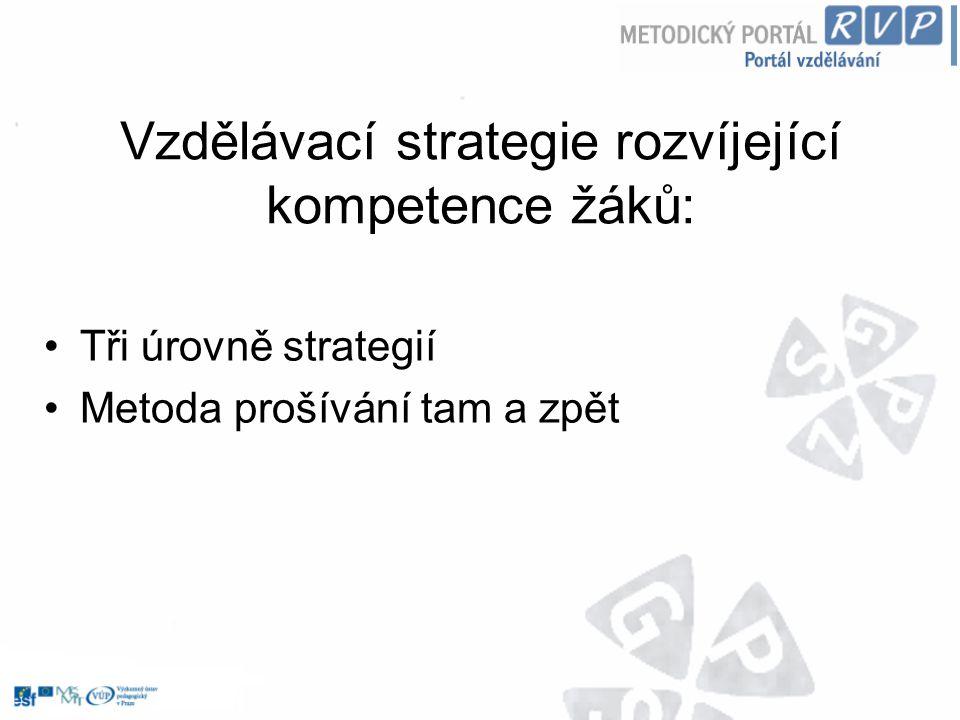 Vzdělávací strategie rozvíjející kompetence žáků: Tři úrovně strategií Metoda prošívání tam a zpět