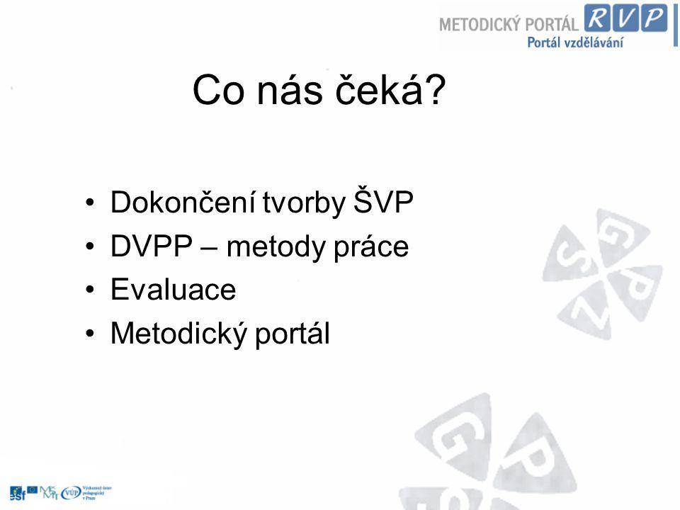 Co nás čeká? Dokončení tvorby ŠVP DVPP – metody práce Evaluace Metodický portál