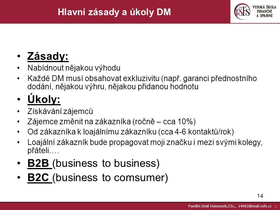13 PaedDr.Emil Hanousek,CSc., 14002@mail.vsfs.cz :: Přímý prodej výrobků nebo služeb Získávání kontaktů potencionálních zákazníků Budování loajality,