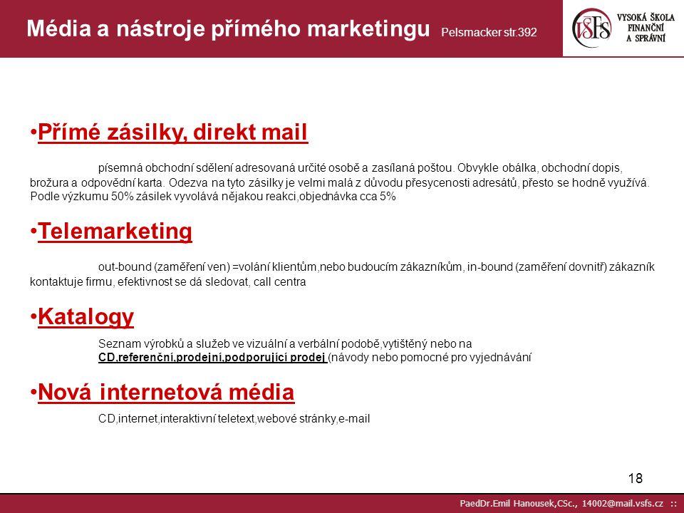 17 PaedDr.Emil Hanousek,CSc., 14002@mail.vsfs.cz :: Média a nástroje přímého marketingu Pelsmacker str.392 Tištěná reklama s možností přímé reakce jed