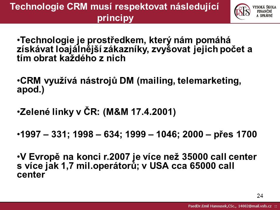 """23 PaedDr.Emil Hanousek,CSc., 14002@mail.vsfs.cz :: CRM – Customer Relationship Management – Řízení vztahu se zákazníky Většinou chápáno jako """"telefon"""