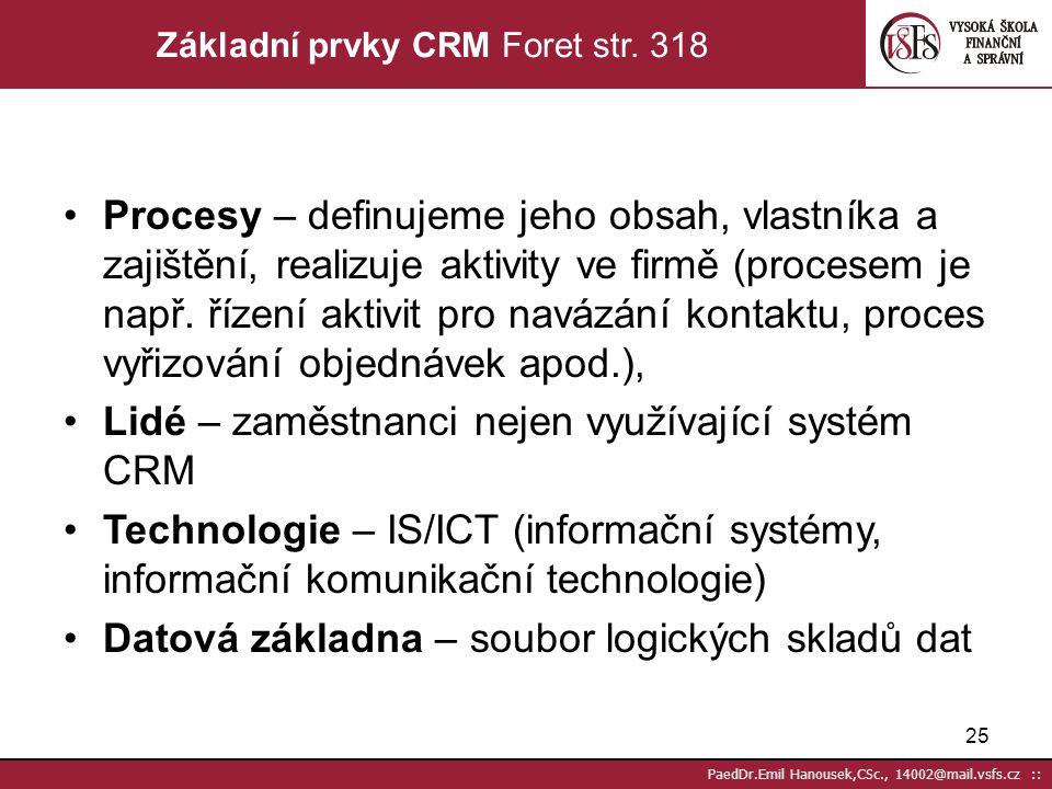 24 PaedDr.Emil Hanousek,CSc., 14002@mail.vsfs.cz :: Technologie CRM musí respektovat následující principy Technologie je prostředkem, který nám pomáhá