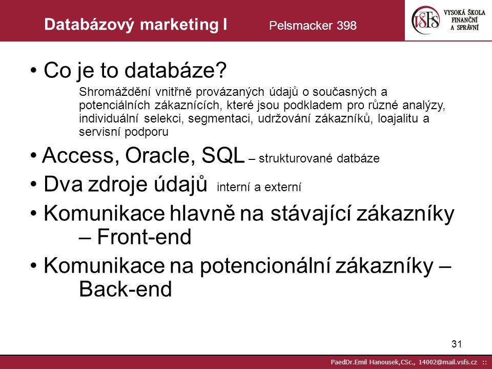 30 PaedDr.Emil Hanousek,CSc., 14002@mail.vsfs.cz :: Relační (vztahový) marketing II Foret str.320 Fáze vztahu: - vnímání hodnoty - navázání kontaktu -