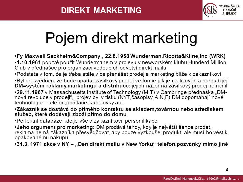 3 PaedDr.Emil Hanousek,CSc., 14002@mail.vsfs.cz :: Základní: Frey,P. 2005. Marketingová komunikace. Praha: Management Press, 2005. Nash,E. 2003. Direc
