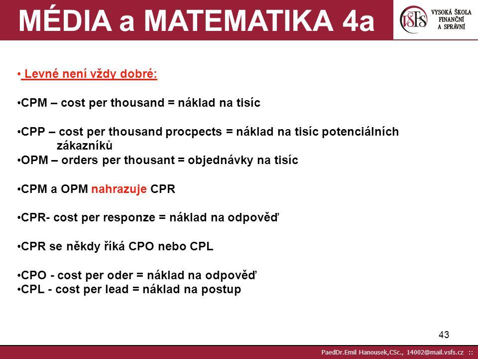 42 PaedDr.Emil Hanousek,CSc., 14002@mail.vsfs.cz :: Čím měříme efektivnost DM? 4 Kolik stojí realizace mailingu –Fixní a proměnné náklady včetně pošto