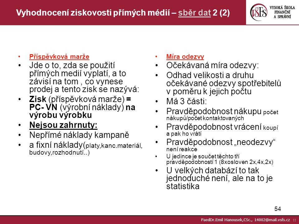 53 PaedDr.Emil Hanousek,CSc., 14002@mail.vsfs.cz :: Vyhodnocení ziskovosti přímých médií - sběr dat 1 (2) Co je třeba? Vědět zda bude kampaň úspěšná j