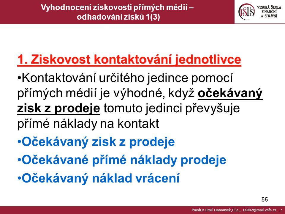 54 PaedDr.Emil Hanousek,CSc., 14002@mail.vsfs.cz :: Vyhodnocení ziskovosti přímých médií – sběr dat 2 (2) Příspěvková marže Jde o to, zda se použití p