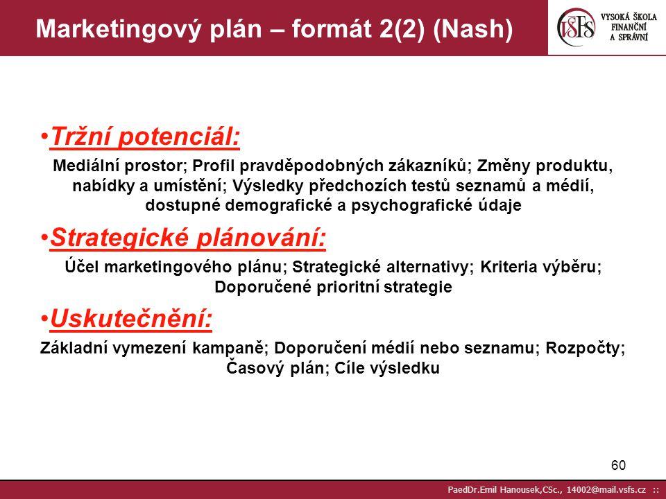 59 PaedDr.Emil Hanousek,CSc., 14002@mail.vsfs.cz :: Marketingový plán – formát 1(2) (Nash) Titul: čí je to plán, kdo ho připravil Úvod: proč je připra