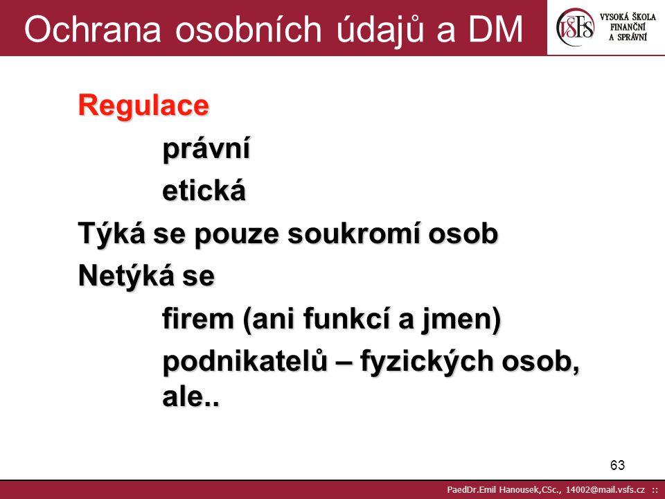 62 PaedDr.Emil Hanousek,CSc., 14002@mail.vsfs.cz :: Společnost, problémy, zákony, asociace DM, globalizace 2(2) Asociace a spolky související s DM: AD