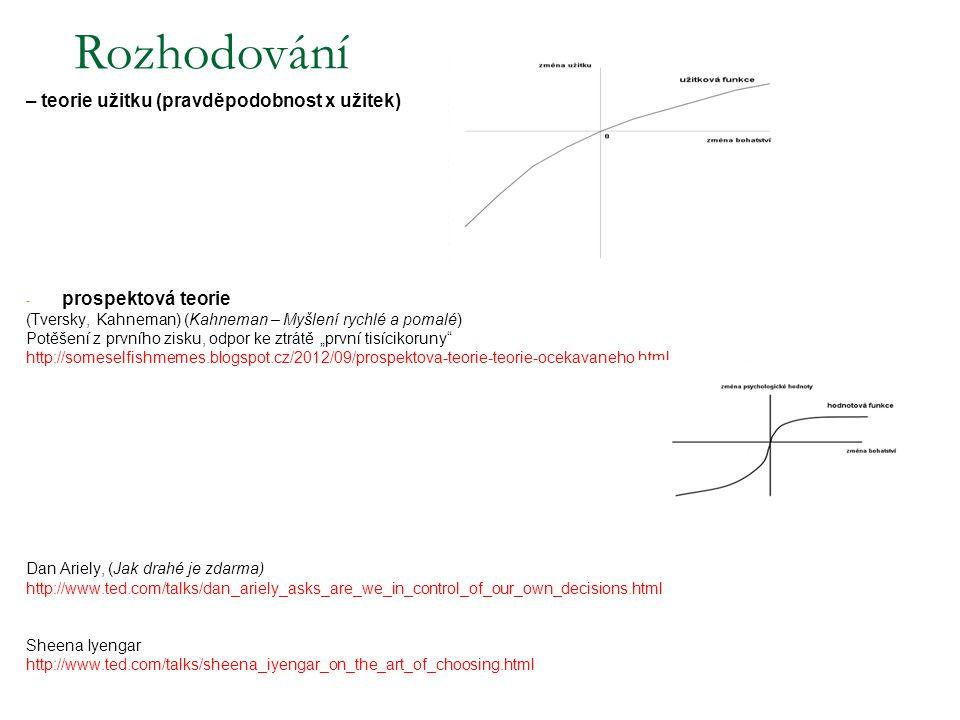 – teorie užitku (pravděpodobnost x užitek) - prospektová teorie (Tversky, Kahneman) (Kahneman – Myšlení rychlé a pomalé) Potěšení z prvního zisku, odp