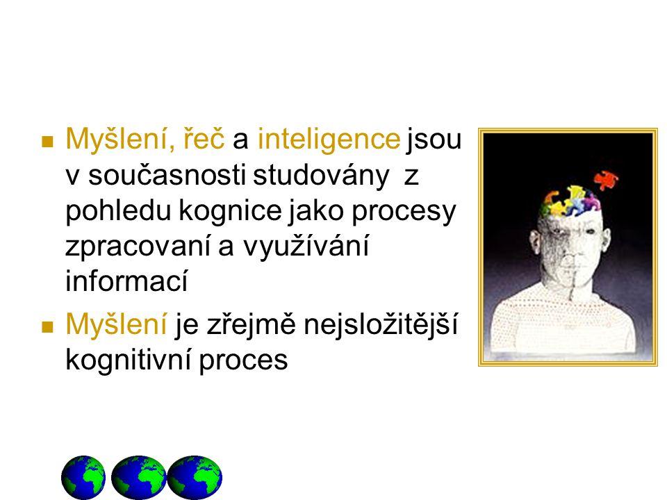 Myšlení, řeč a inteligence jsou v současnosti studovány z pohledu kognice jako procesy zpracovaní a využívání informací Myšlení je zřejmě nejsložitějš