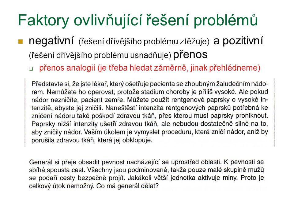negativní (řešení dřívějšího problému ztěžuje) a pozitivní (řešení dřívějšího problému usnadňuje) přenos  přenos analogií (je třeba hledat záměrně, j