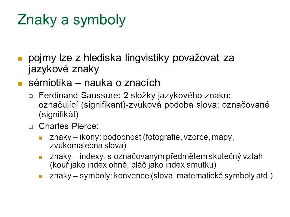 Znaky a symboly pojmy lze z hlediska lingvistiky považovat za jazykové znaky sémiotika – nauka o znacích  Ferdinand Saussure: 2 složky jazykového zna