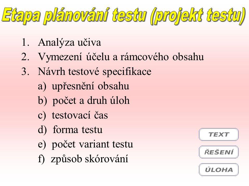 1.Analýza učiva 2.Vymezení účelu a rámcového obsahu 3.Návrh testové specifikace a) upřesnění obsahu b) počet a druh úloh c) testovací čas d) forma tes