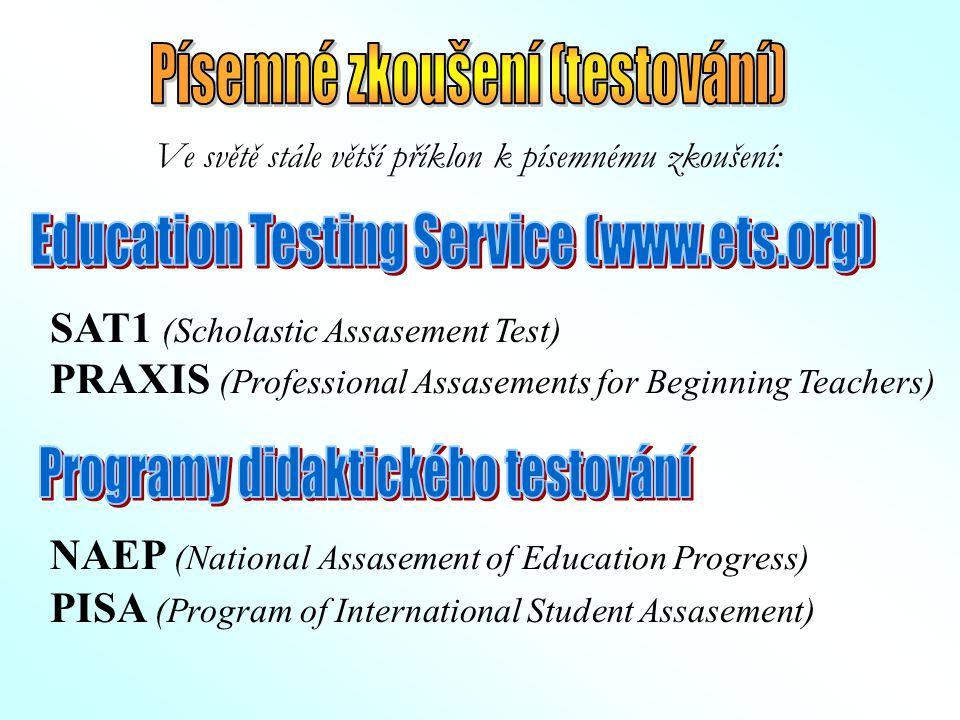 Ve světě stále větší příklon k písemnému zkoušení: SAT1 (Scholastic Assasement Test) PRAXIS (Professional Assasements for Beginning Teachers) NAEP (Na