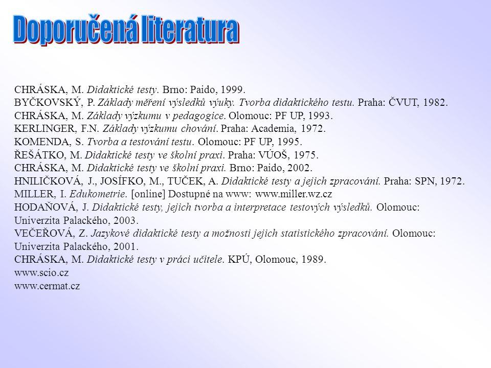 CHRÁSKA, M. Didaktické testy. Brno: Paido, 1999. BYČKOVSKÝ, P. Základy měření výsledků výuky. Tvorba didaktického testu. Praha: ČVUT, 1982. CHRÁSKA, M