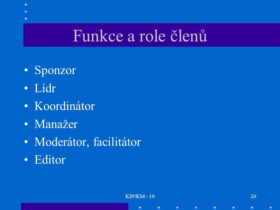 KIP/KM - 1020 Funkce a role členů Sponzor Lídr Koordinátor Manažer Moderátor, facilitátor Editor